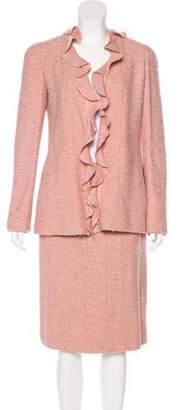 Chanel Ruffle-Trimmed Wool Skirt Suit
