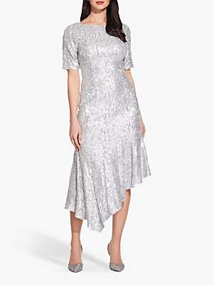 Adrianna Papell Sequin Midi Dress, Silver