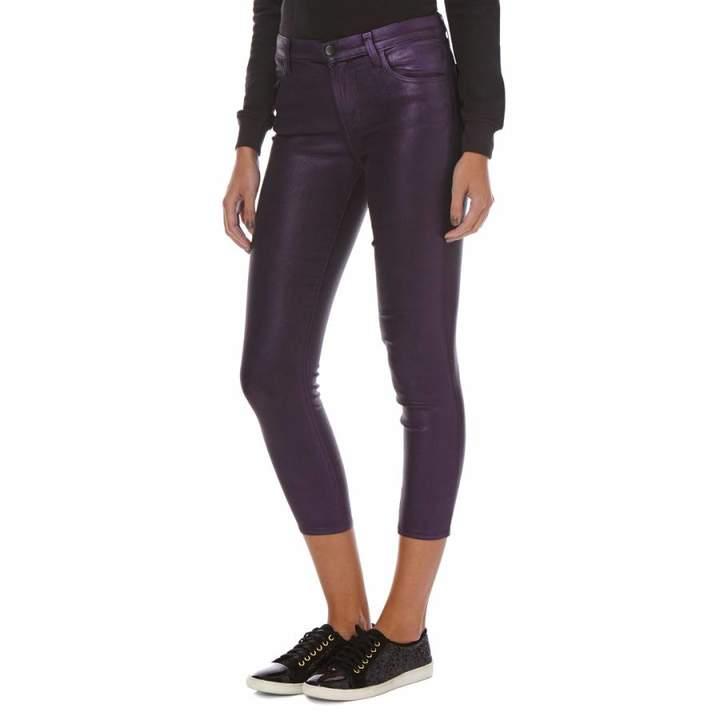 Purple Coated Alana High Rise Cropped Skinny Jeans