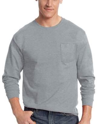 Hanes Men's Tagless Cotton Long Sleeve Pocket Tshirt