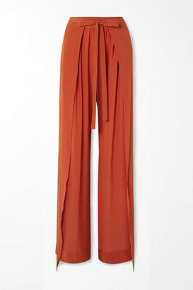 Chloé Layered Silk-crepe Wide-leg Pants - Orange