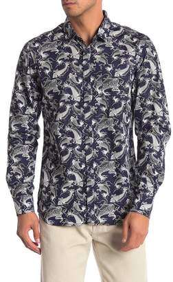 NOIZE Fish Print Regular Fit Shirt