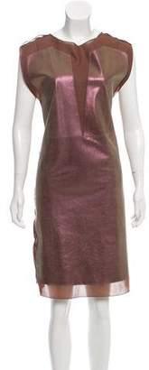 Bottega Veneta Iridescent Leather-Paneled Dress