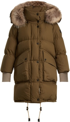 Fur-trimmed quilted-down cotton coat
