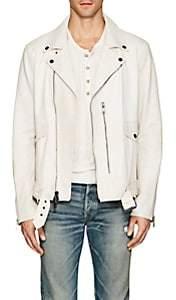 John Varvatos Men's Distressed Leather Biker Jacket-White