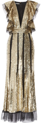 Alexander McQueen - Ruffled Sequin-embellished Tulle Gown - Gold $12,695 thestylecure.com