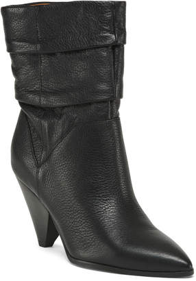 Franco Sarto Leather Pointy Toe Mid Shaft Booties