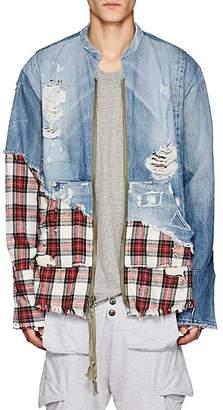 Greg Lauren Men's Denim & Plaid Flannel Zip-Front Studio Shirt