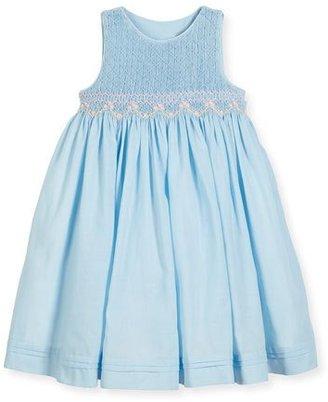 Luli & Me Sleeveless Floral-Trim Smocked Dress w/ Bows, Blue, Size 2-4T $98 thestylecure.com