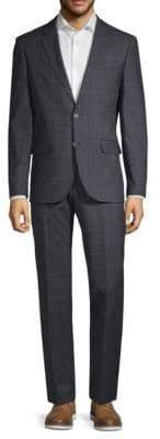 Karl Lagerfeld Windowpane Notch Lapel Suit