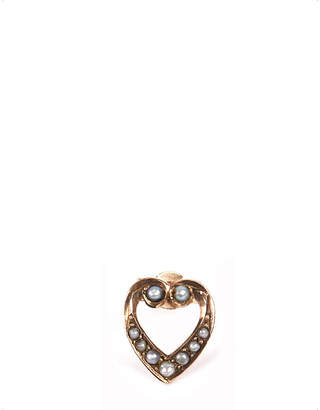9 carat gold and pearl heart earring