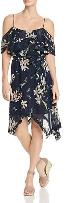 Paige Sahar Cold-Shoulder Floral Silk Dress