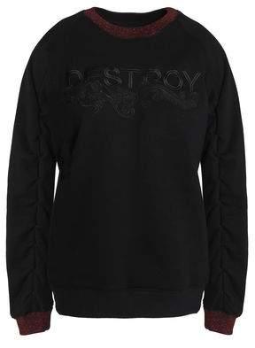 Zoe Karssen Metallic-Trimmed Embroidered Terry Sweatshirt
