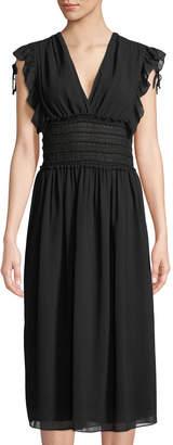 Max Studio Smock-Waist V-Neck Dress
