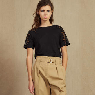 Sandro Linen T-Shirt With Lace Trim