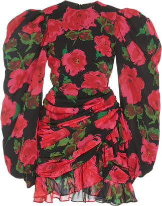 Richard Quinn Ruched Floral-Print Chiffon Dress Size: 6