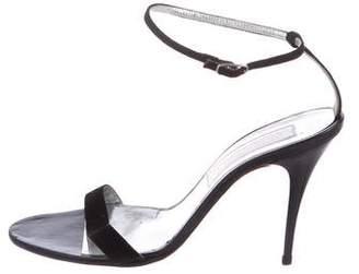 Christian Lacroix Suede Ankle Strap Sandals