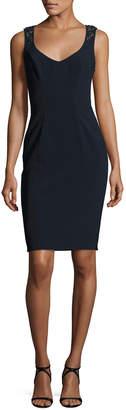 Theia Sleeveless Embellished-Back Sheath Dress, Midnight