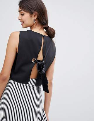 Girls On Film crop top with tie back detail