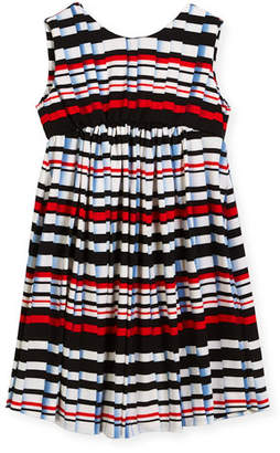 Helena Stripe Pleat-Print Knit Dress, Size 4-6