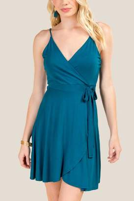 francesca's Zola Side Tie Faux Wrap Knit Dress - Dark Teal