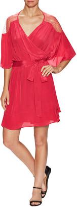 1st Sight V-Neck Cold-Shoulder Wrap Dress