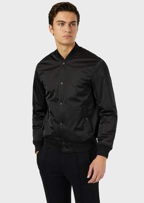 Emporio Armani Padded Bomber In Nylon Satin With Embroidered Logo