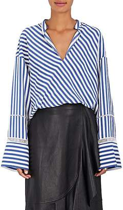 Derek Lam WOMEN'S HANDKERCHIEF-HEM STRIPED SILK BLOUSE