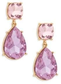 Ava & Aiden Goldtone Pink & Purple Gemstone Teardrop Dangle Earrings