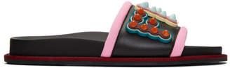 Fendi Black Embossed Logo Slides