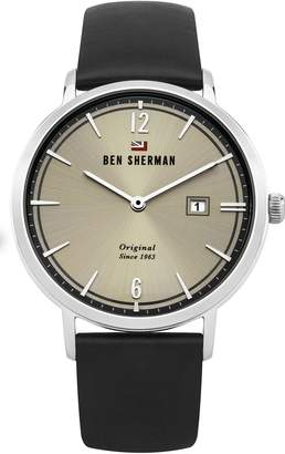 Ben Sherman Men's 'The Dylan Social' Quartz Stainless Steel and Leather Casual Watch, Color Black (Model: WBS101B)