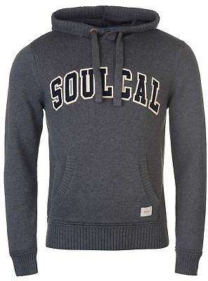 Soul Cal SoulCal Mens Deluxe Chest Logo Knitted Hoodie Jumper Hoody Hooded Top Sweater