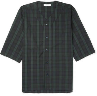 Nonnative Handyman Collarless Checked Cotton-Blend Ripstop Shirt