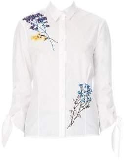 Carolina Herrera Floral-Embroidered Blouse