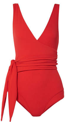 Lisa Marie Fernandez Dree Louise Stretch-crepe Wrap Swimsuit - Red