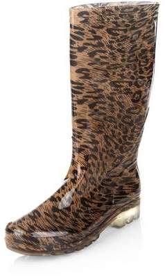 New Look Stone Leopard Print Calf High Wellies