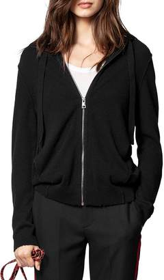 Zadig & Voltaire Cassy Leather-Patch Cashmere Hoodie