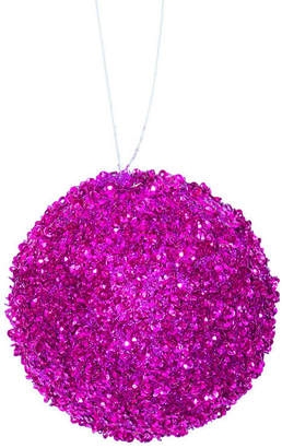 Asstd National Brand 4ct Fuschia Sequin and Glitter Drenched Christmas Ball Ornaments 4 (100mm)