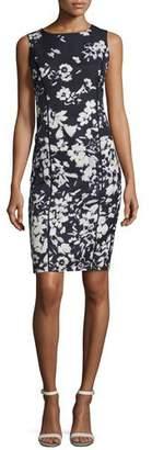 Lafayette 148 New York Evelyn Augusto Impression Floral-Print Sheath Dress, Ink Multi