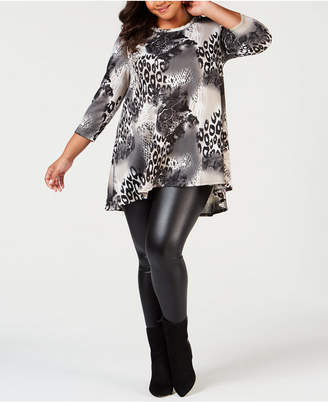 NY Collection Plus Size Printed Trapeze Top