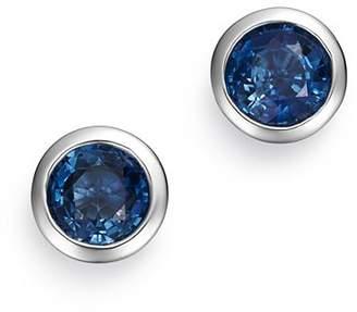 Bloomingdale's Blue Sapphire Bezel Stud Earrings in 14K White Gold - 100% Exclusive