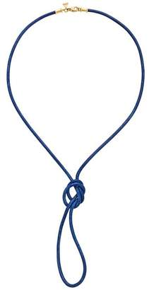 Temple St. Clair 18K Yellow Gold Classic Royal Blue Leather Cord Necklace, 32""