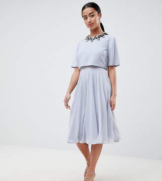 Asos DESIGN Petite 3D Embellished Crop Top Midi Skater Dress