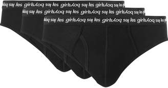 Les Girls Les Boys - Three-Pack Ribbed Stretch-Cotton Briefs - Men - Black