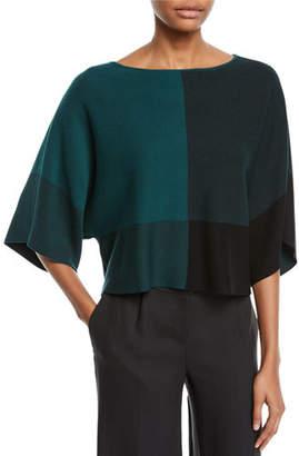 Eileen Fisher Half-Sleeve Colorblock Sweater, Petite