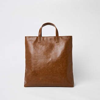 River Island Brown faux leather tote bag