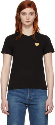 Comme des Garcons Black and Gold Heart Patch T-Shirt