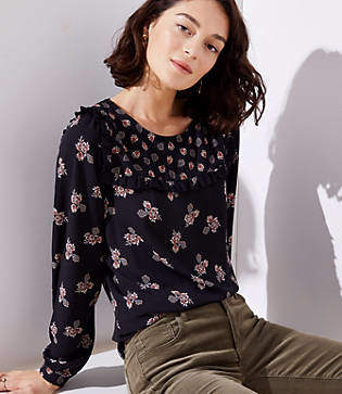 LOFT Mixed Floral Ruffle Yoke Blouse