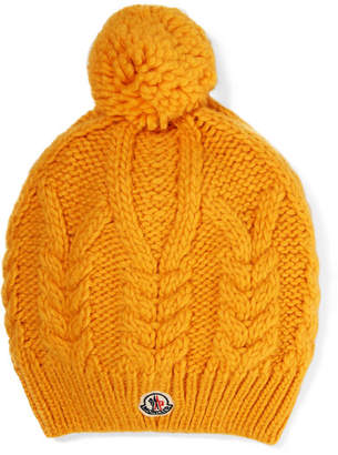 Moncler Appliquéd Cable-knit Beanie - Yellow