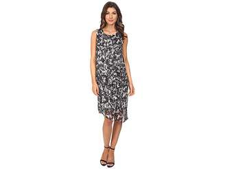 Vince Camuto Sleeveless Broken Prism Dress w/ Chiffon Overlay Women's Dress